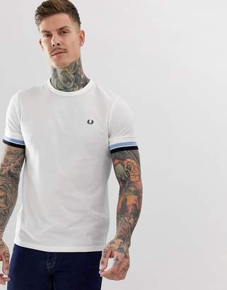 Fred Perry bold tipped pique t-shirt in white