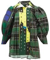 Chopova Lowena - Tartan-print Poplin Dress - Womens - Green Multi