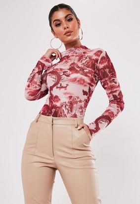 Missguided Pink China Print High Neck Mesh Bodysuit