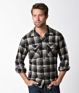 Pendleton Black & Brown Plaid Wool Button Up Board Shirt