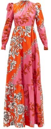 Erdem Claudina Modotti Wallpaper-print Cotton Dress - Pink Multi