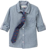 Sovereign Code Heathered Dress Shirt & Printed Holiday Tie (Toddler & Little Boys)