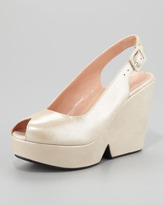 Robert Clergerie Dylane Slingback Wedge, Silver