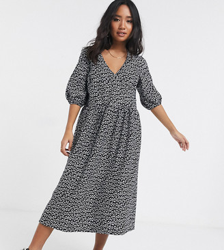 ASOS DESIGN Petite mono floral jacquard wrap smock dress