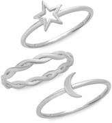 Thumbnail for your product : Sterling Forever 3-Piece Sterling Silver Celestial Stackable Ring Set