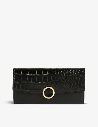 Ted Baker Crocodile-embossed leather matinee purse