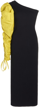Costarellos Lauria Moire-Detailed Ribbed-Knit One-Shoulder Midi Dress