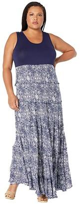 Karen Kane Plus Plus Size Topanga Tiered Dress (Print) Women's Clothing