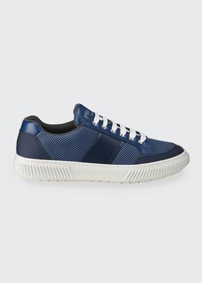 Prada Men's Vitello/Rubber Mesh Low-Top Sneakers