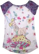 Disney Big Girls' Burnout Raglan Tinker Bell Tee for Girls