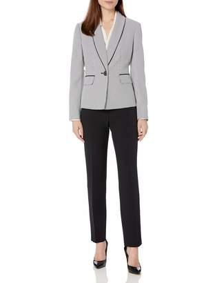 Le Suit Lesuit LeSuit Women's Shawl Collar Mini Houndstooth Slim Pant Suit