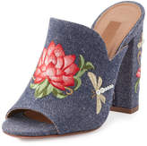 Aquazzura Lotus Embroidered Denim Mule Sandal, Blue