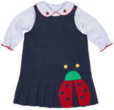 Florence Eiseman Pleated Corduroy Ladybug Dress w/ Blouse, Navy/White, Size 2-4