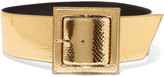 Saint Laurent Metallic Python Waist Belt - Gold