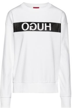 HUGO BOSS Relaxed-fit sweatshirt with reverse-logo print