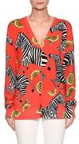 Dolce & Gabbana Zebra-Lemon Print V-Neck Button-Front Silk Cardigan