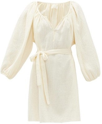 Loup Charmant Raw-hem Organic-cotton Gauze Dress - Ivory