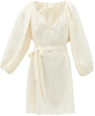 Loup Charmant Raw-hem Organic-cotton Gauze Dress - Womens - Ivory
