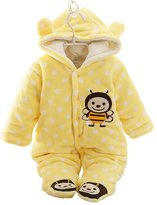 Moleya Unisex-baby Infant Toddler Cotton Long Sleeve Hoody Footie Jumpsuit Romper - Front Button