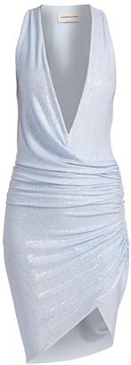 Alexandre Vauthier Micro-Crystal Deep V-Neck Faux Wrap Dress