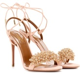 Aquazzura Monaco 105 Embellished Suede Sandals