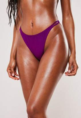 Missguided Purple High Leg Thong Bikini Bottoms