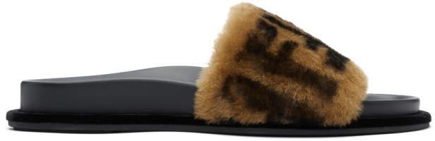 Fendi Black and Beige Shearling Forever Slides