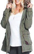 Apparel Sense Womens Faux Fur Hoodie Sherpa Lined Military Safari Utility Fashion Parka Jacket