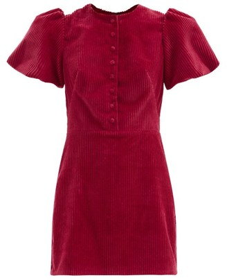 The Vampire's Wife The Heartbreaker Cotton Jumbo-cord Mini Dress - Raspberry
