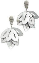 Oscar de la Renta Floral Opaque Tulip Clip On Earrings