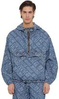 Versace Jeans Couture Allover Jacquard Logo Denim Anorak