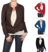 Journee Collection Women's Round Neck Button-up Cardigan