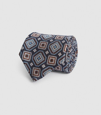 Reiss LUKA SILK MEDALLION TIE Navy