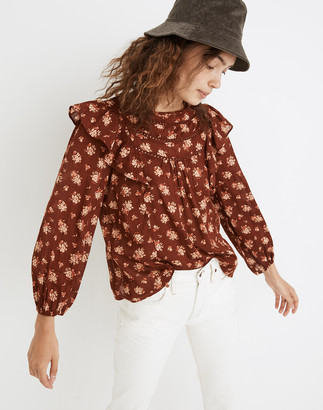 Madewell Ladder-Trim Ruffle Top in Homestead Bouquet