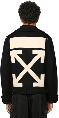 Off-White Off White ARROW PATCH VIRGIN WOOL BLEND PEA COAT