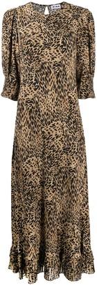Rixo Animal-Print Ruffle-Trim Dress