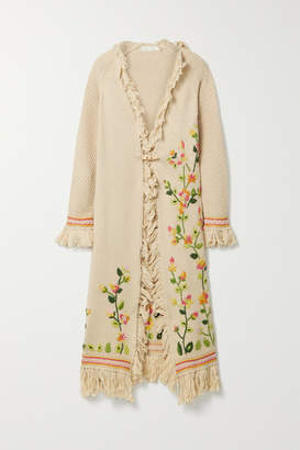 LoveShackFancy Valencia Fringed Embroidered Knitted Cardigan - Beige