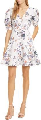 Rebecca Taylor Floral Toile Cotton & Linen Blend Dress