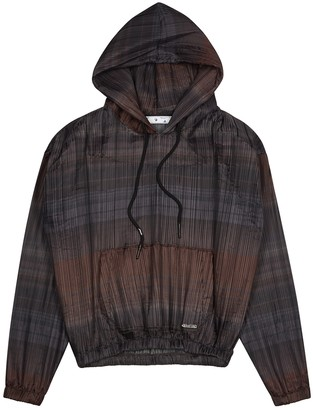 Off-White Brown Hooded Plisse Shell Jacket