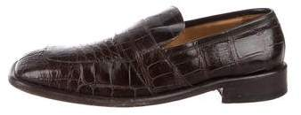 Gucci Crocodile Square-Toe Loafers