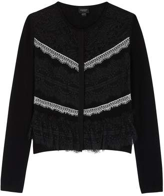 Giambattista Valli Black Lace And Wool-blend Cardigan