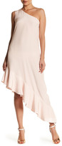 Cynthia Rowley One-Shoulder Asymmetrical Flutter Silk Dress