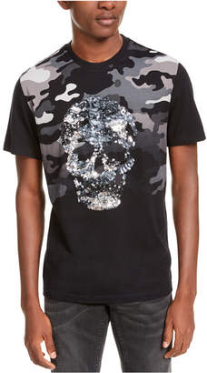 INC International Concepts Inc Men Camo Sequin Skull T-Shirt