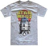 Hybrid Star Wars Men's R2-D2 Vintage Look Distressed Logo T-shirt (Large, Grey Heather)