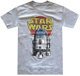 Hybrid Star Wars Men's R2-D2 Vintage Look Distressed Logo T-shirt (Small, Grey Heather)