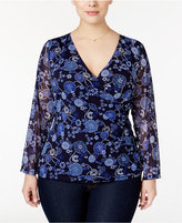 INC International Concepts Plus Size Drapey Chiffon Surplice Top, Only at Macy's