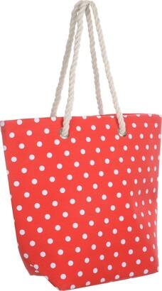 Lazy Beach Bag Ladies Red Polka Canvas Beach Shoulder Bag Tote Shopping Reuseable Handbag