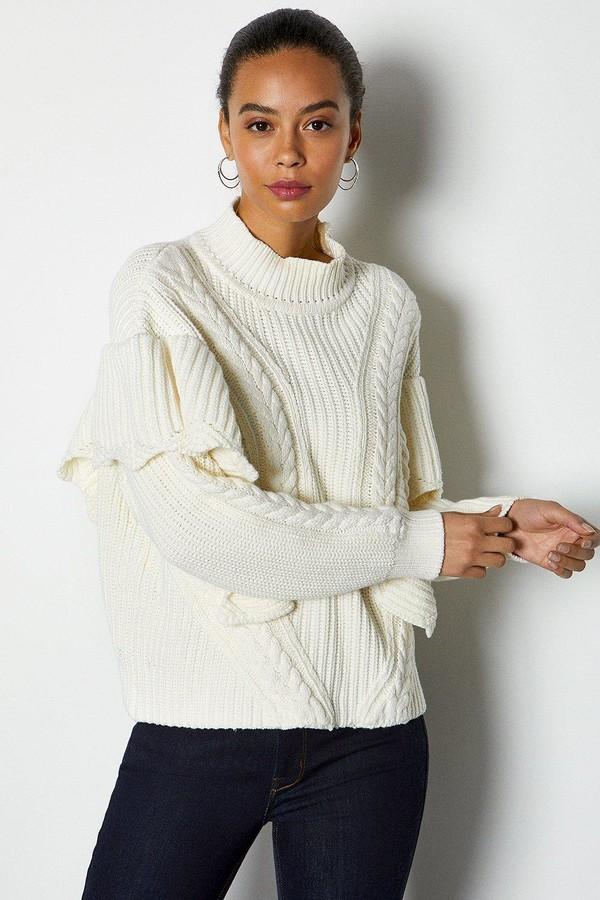Karen Millen Chunky Rib Frill Knit Jumper