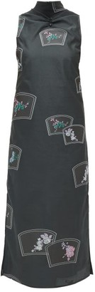 Ganni Ruched High-neck Floral-embroidered Midi Dress - Womens - Black