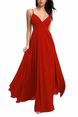 Leader of the Beauty Women's Spaghetti Straps Blue Chiffon Wedding Party Bridesmaid Formal Dress UK20